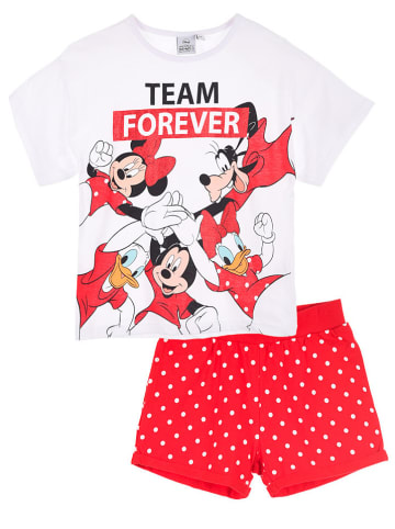 """Disney Minnie Mouse 2-delige outfit """"Minnie Mouse"""" wit/ rood"""