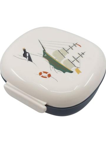 """Sebra Lunchbox """"Seven Seas"""" wit/donkerblauw - (B)17,5 x (H)7,2 x (D)16,5 cm"""