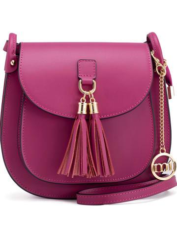 Mia Tomazzi Skórzana torebka w kolorze fioletowym - 22 x 21 x 8 cm