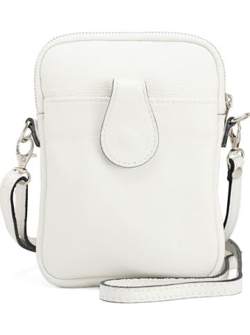 Mia Tomazzi Skórzana torebka w kolorze białym - 15 x 20 x 1 cm