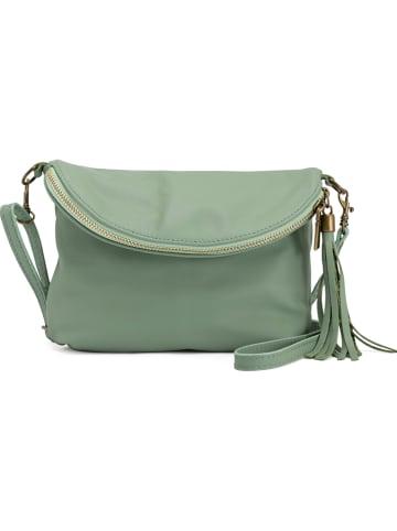 Mia Tomazzi Skórzana torebka w kolorze jasnozielonym - 24 x 18 x 4 cm