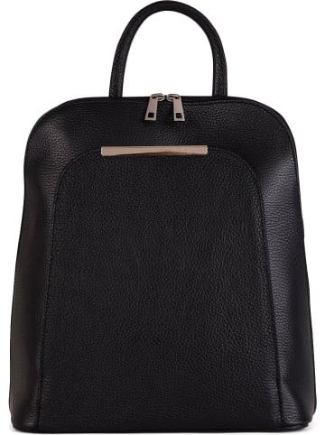 Mia Tomazzi Skórzany plecak w kolorze czarnym - 35 x 33 x 12 cm