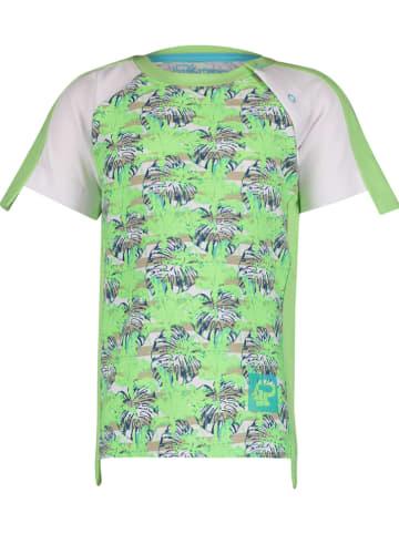 """4PRESIDENT Koszulka """"Ian"""" w kolorze zielono-białym"""
