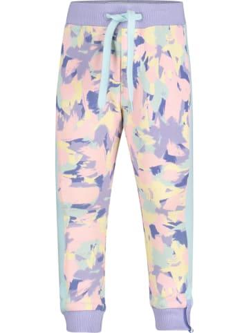 """4PRESIDENT Spodnie dresowe """"Imani"""" w kolorze fioletowo-jasnoróżowo-żółtym"""