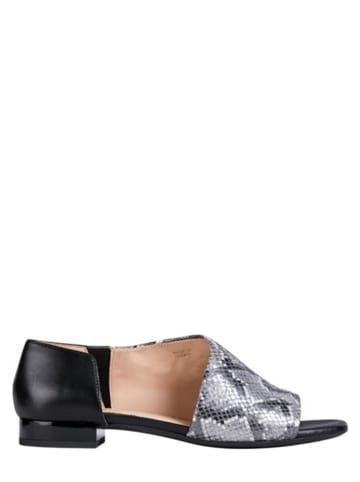 """Geox Leren sandalen """"Wistrey"""" zilverkleurig/ zwart"""