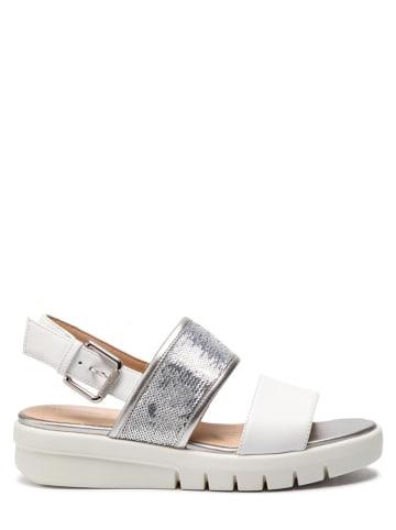 """Geox Skórzane sandały """"Wimbley"""" w kolorze biało-srebrnym"""