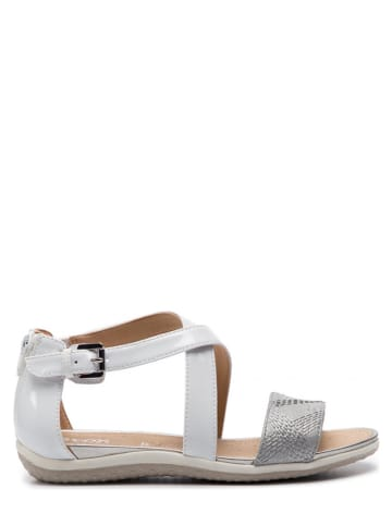 """Geox Leren sandalen """"Sanvega"""" wit/ zilverkleurig"""