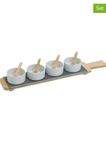 G. Wurm 9-delige serveerset lichtbruin/zwart/wit