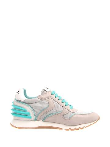 Voile Blanche Skórzane sneakersy w kolorze szaro-turkusowym