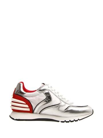Voile Blanche Skórzane sneakersy w kolorze srebrno-czerwono-białym