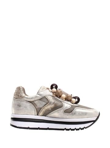 Voile Blanche Skórzane sneakersy w kolorze złotym