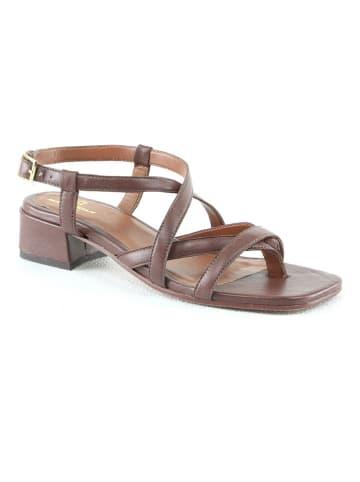 """Manoukian shoes Leren haksandalen """"Sana"""" bruin"""