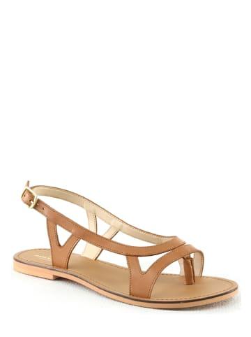 """Manoukian shoes Leren teenslippers """"Seta"""" beige"""