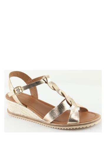 "Manoukian shoes Leder-Keilsandaletten ""Tania"" in Gold"