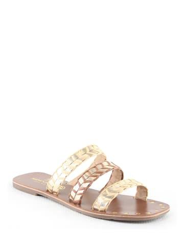 """Manoukian shoes Leder-Pantoletten """"Ursula"""" in Gold/ Creme"""