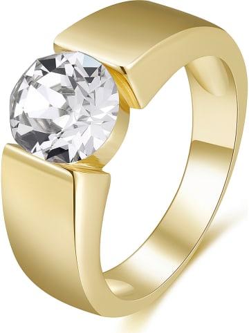 METROPOLITAN Vergulde ring met Swarovski-kristal