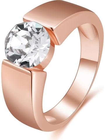 METROPOLITAN Rosévergulde ring met Swarovski-kristal