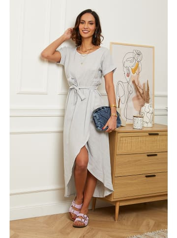 Le Monde du Lin Linnen jurk lichtgrijs