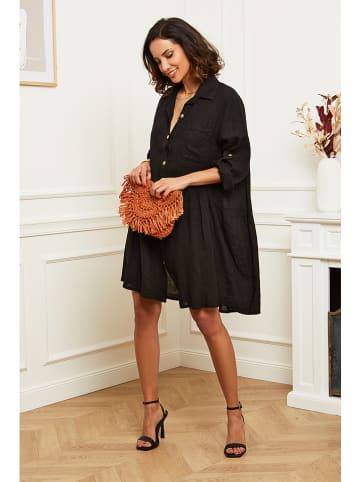 Naturelle en lin Lniana sukienka w kolorze czarnym