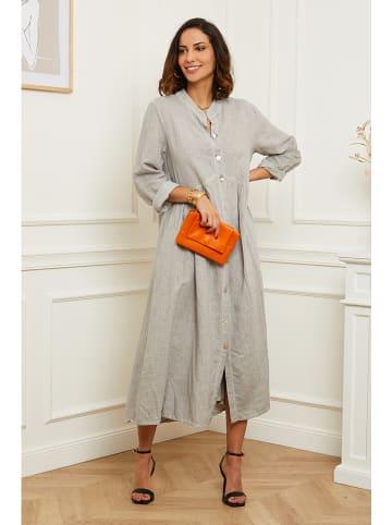 Le Monde du Lin Lniana sukienka w kolorze szarym