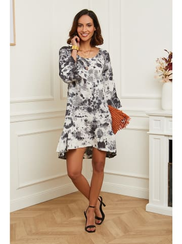 Naturelle en lin Leinen-Kleid in Grau/ Weiß