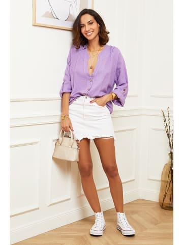 Le Monde du Lin Lniana bluzka w kolorze fioletowym