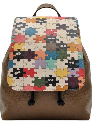 """Dogo Plecak """"In The Puzzle"""" w kolorze brązowym ze wzorem - 23 x 27 x 12 cm"""