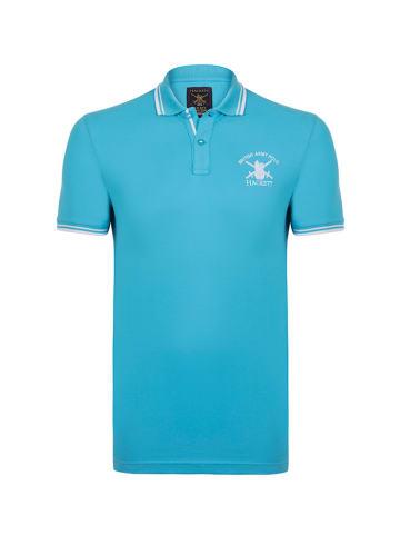 Hackett London Koszulka polo w kolorze turkusowym