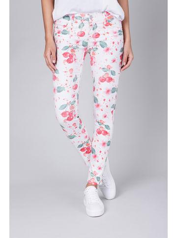 """Blue Fire Spodnie """"Alicia"""" w kolorze biało-czerwonym"""