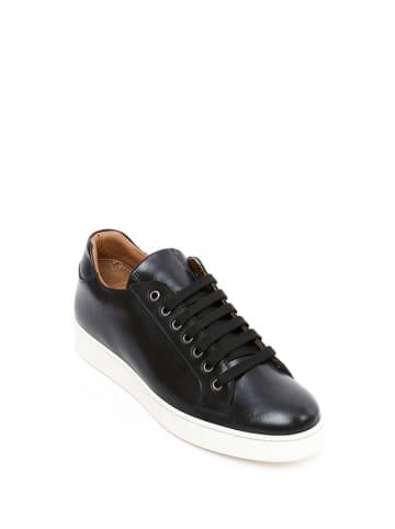 British Passport Skórzane sneakersy w kolorze czarnym