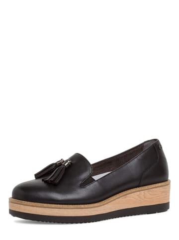 Tamaris Skórzane slippersy w kolorze czarnym