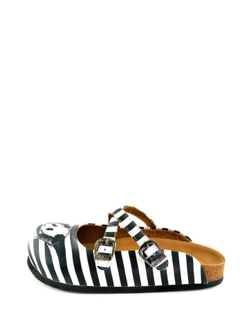 Calceo Klapki w kolorze czarno-białym ze wzorem