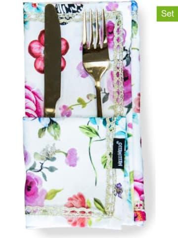 Melli Mello 2-delige set: stoffen servetten wit/meerkleurig - (L)42 x (B)42 cm