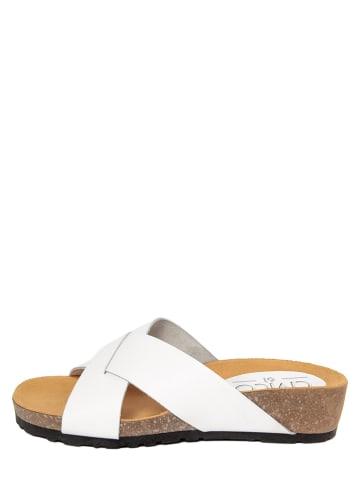 CIVICO 61 Leren slippers wit
