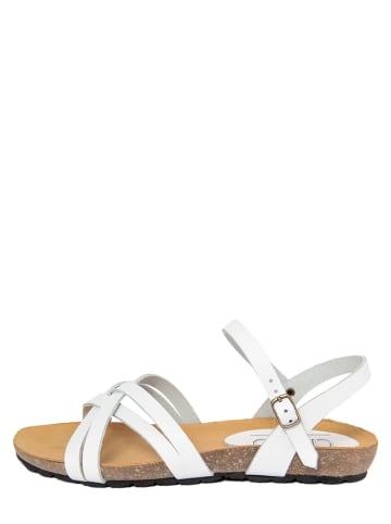 CIVICO 61 Skórzane sandały w kolorze białym