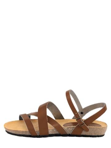 CIVICO 61 Skórzane sandały w kolorze brązowym