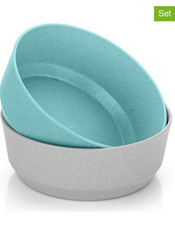 Reer 2-delige set: schalen grijs/turquoise - (B)17,5 x (H)7 cm