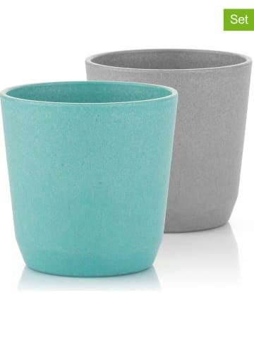 Reer 2-delige set: bekers grijs/turquoise - (H)15,5 cm