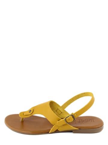 Triple Sun Leren teenslippers geel