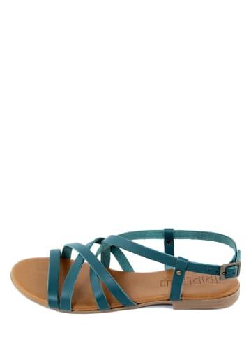Triple Sun Leder-Sandalen in Blau