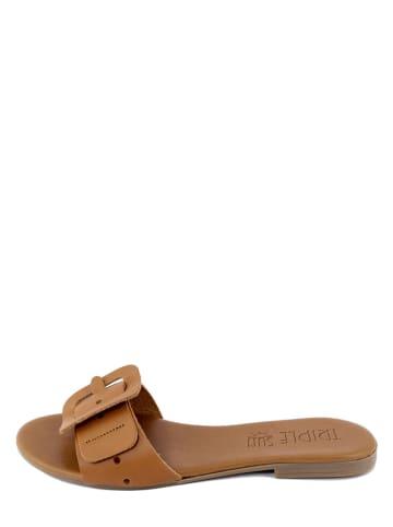 Triple Sun Leren slippers lichtbruin