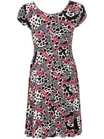 """LA LIGNA Sukienka """"Evi"""" w kolorze czarno-biało-różowym"""