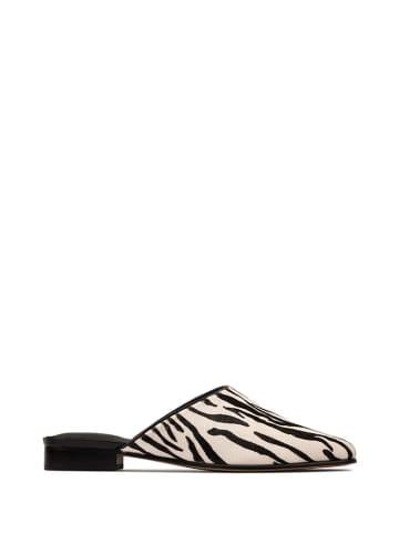 Clarks Leren slippers zwart/wit