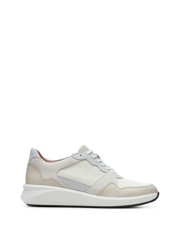 Clarks Skórzane sneakersy w kolorze biało-szaro-beżowym