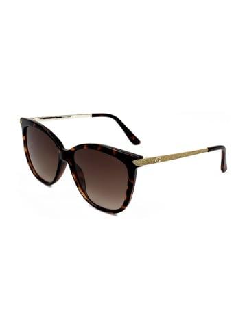 """Guess Okulary przeciwsłoneczne """"U7533"""" w kolorze ciemnobrązowo-złotym"""
