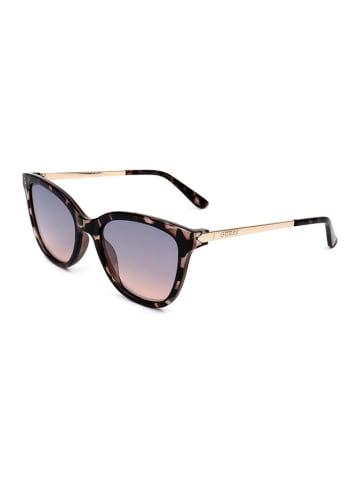 Guess Damen-Sonnenbrille in Braungrau-Silber/ Lila-Rosa