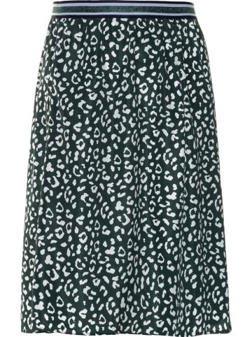 Ulla Popken Spódnica w kolorze ciemnozielono-białym