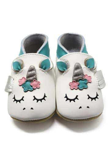 """Lait et Miel Skórzane buty niemowlęce """"Unicorn"""" w kolorze biało-różowym"""