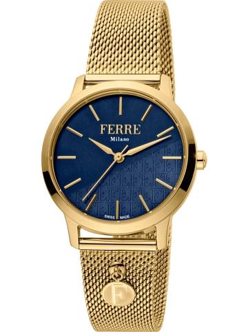Ferré Kwartshorloge goudkleurig/blauw