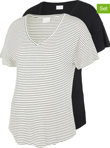 Mama licious Koszulki ciążowe (2 szt.) w kolorze biało-czarnym
